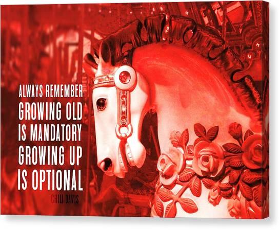 Crimson Carousel Quote Canvas Print