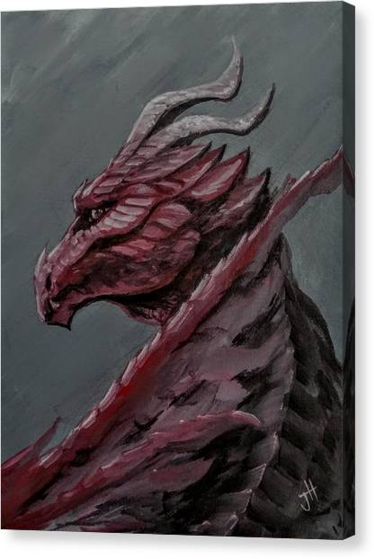 Canvas Print featuring the painting Crimson Dragon by Jennifer Hotai