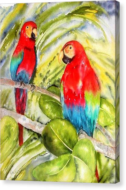 Crimson Macaws Canvas Print