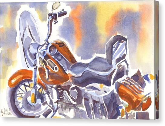 Crimson Motorcycle In Watercolor Canvas Print