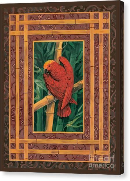 Crimson Parrot Canvas Print by Paul Brent