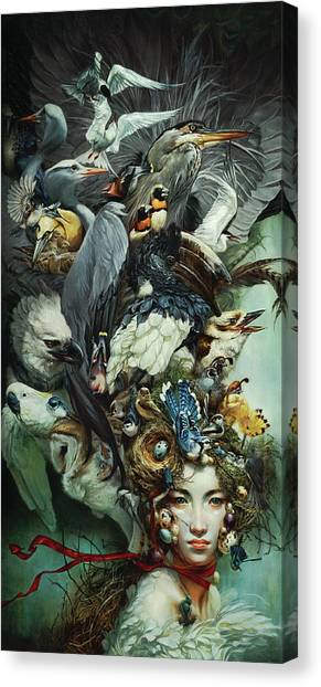 Hornbill Canvas Print - Crimson Ribbon by Heather Theurer