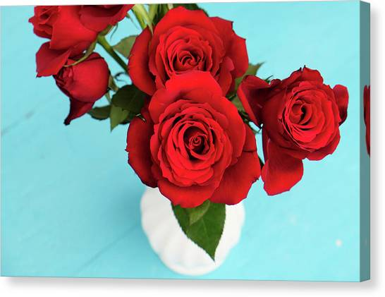Red Roses Canvas Print - Crimson Roses by Happy Home Artistry