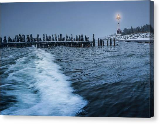 Crisp Point Lighthouse On Lake Superior Canvas Print