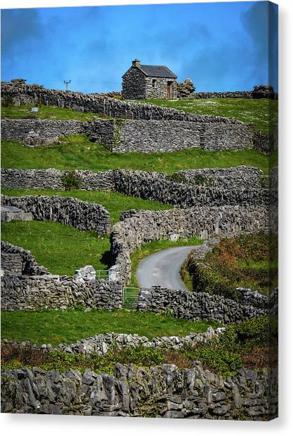 Canvas Print featuring the photograph Criss-crossed Stone Walls Of Inisheer by James Truett