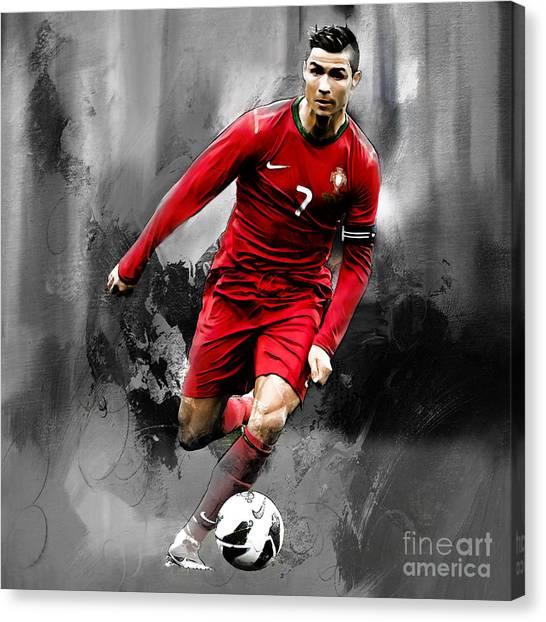 Fc Barcelona Canvas Print - Cristiano Ronaldo 06s by Gull G