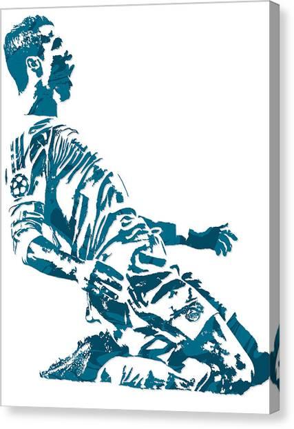 Real Madrid Canvas Print - Cristiano Ronaldo Real Madrid Pixel Art 2 by Joe Hamilton