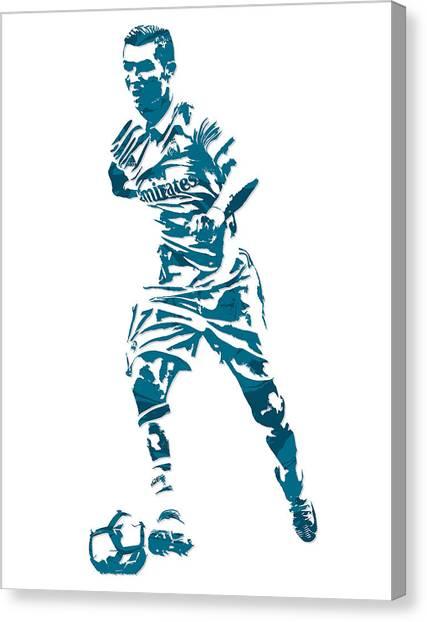 Real Madrid Canvas Print - Cristiano Ronaldo Real Madrid Pixel Art 3 by Joe Hamilton