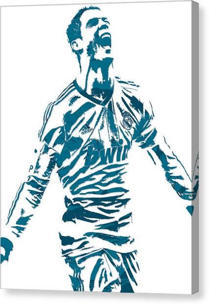 Cristiano Ronaldo Canvas Print - Cristiano Ronaldo Real Madrid Pixel Art 4 by Joe Hamilton