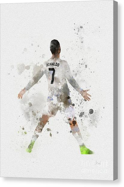 Real Madrid Canvas Print - Cristiano Ronaldo by Rebecca Jenkins