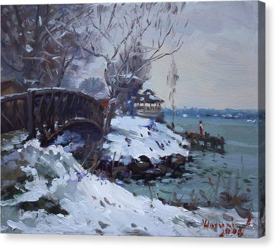 City Landscape Canvas Print - Cristmas Eve In Niawanda Park by Ylli Haruni