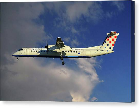 Airlines Canvas Print - Croatia Airlines Bombardier Dash 8 Q400 by Smart Aviation