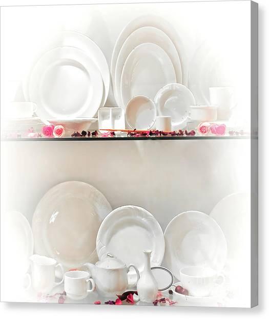Tea Set Canvas Print - Crockery Set by Charuhas Images