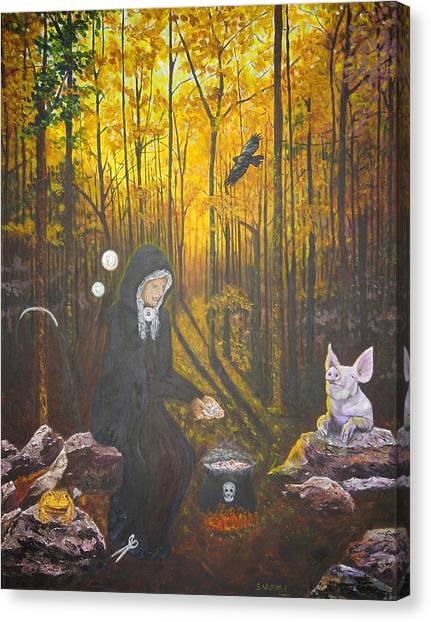 Crone Goddess Keridwen - Samhain Canvas Print
