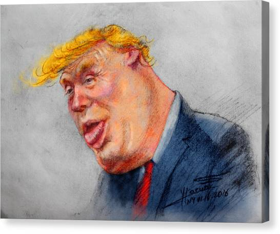 Donald Trump Canvas Print - Crooked Trump by Ylli Haruni