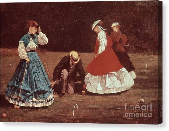 Winslow Canvas Print - Croquet Scene by Winslow Homer