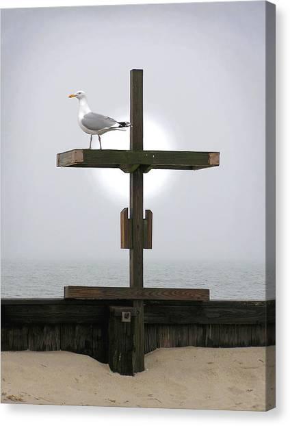Cross At West Dennis Beach Canvas Print