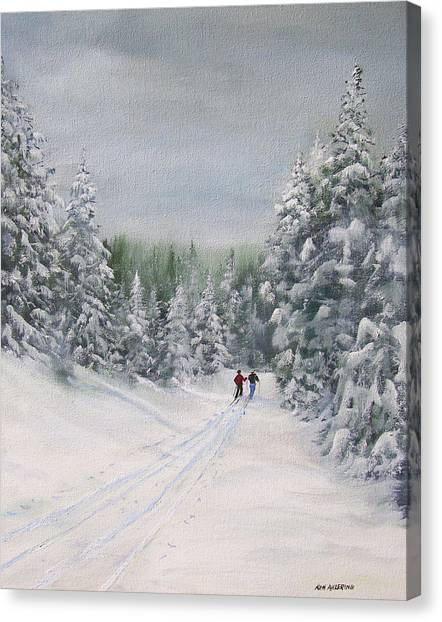 Cross Country Skiers Canvas Print