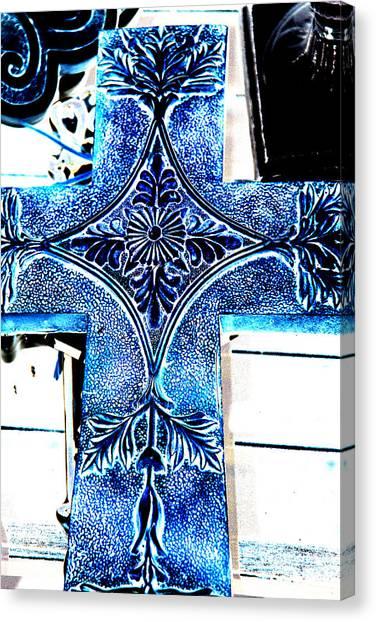 Cross In Blue Canvas Print