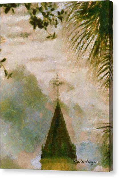 Cross In Distance  Canvas Print by Nada Frazier