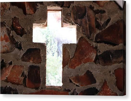 Cross Shaped Window In Chapel  Canvas Print