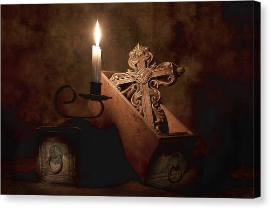 Candle Canvas Print - Cross by Tom Mc Nemar