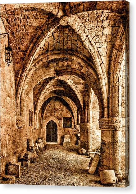 Canvas Print featuring the photograph Rhodes, Greece - Cross Vault by Mark Forte