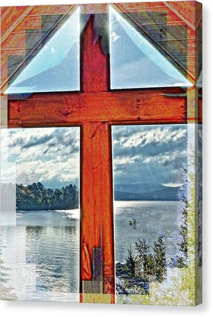 Cross Window Lake View  Canvas Print