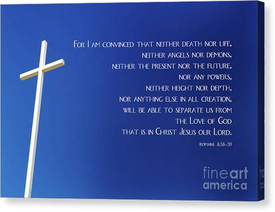 Canvas Print featuring the photograph Cross With Blue Sky by Steven Frame