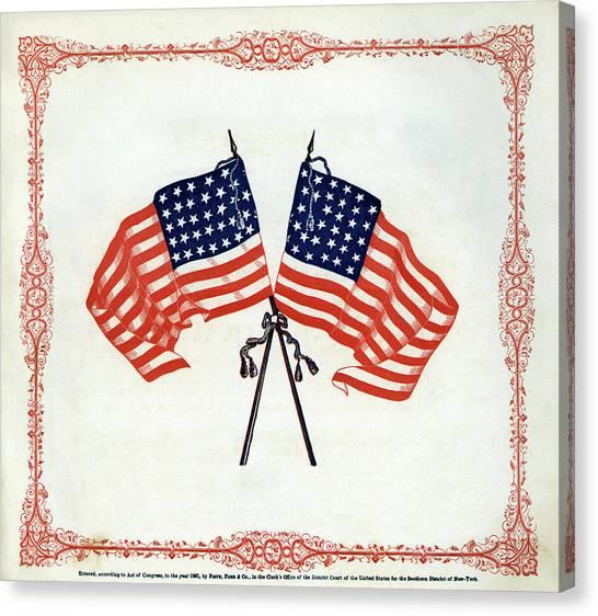 Us Civil War Canvas Print - Crossed Civil War Union Flags 1861 by Daniel Hagerman