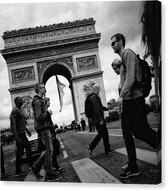 Paris Canvas Print - Crossers  #architecture #people by Rafa Rivas