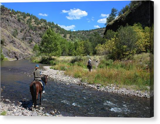 Crossing The Gila On Horseback Canvas Print