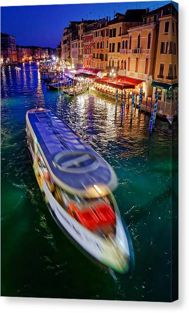 Vaporetto Crossing The Grand Canal At Night In Venice, Italy Canvas Print