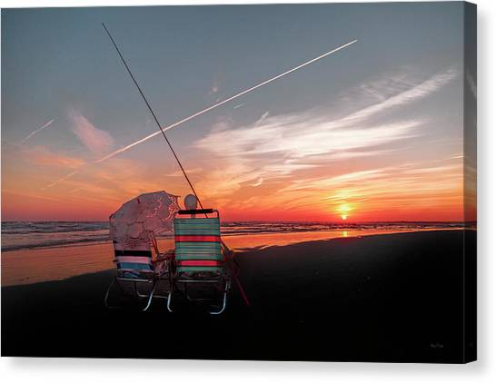 Fishing Poles Canvas Print - Crossing The Line by Betsy Knapp