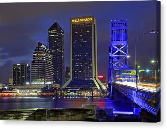Crossing The Main Street Bridge - Jacksonville - Florida - Cityscape Canvas Print