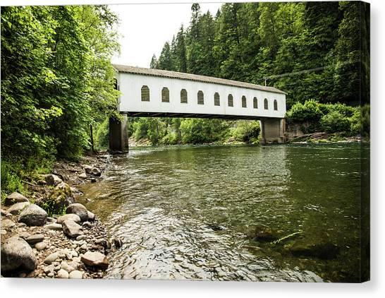 Crossing The Mckenzie River Canvas Print