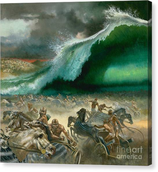 Old Testament Canvas Print - Crossing The Red Sea by Anonymous