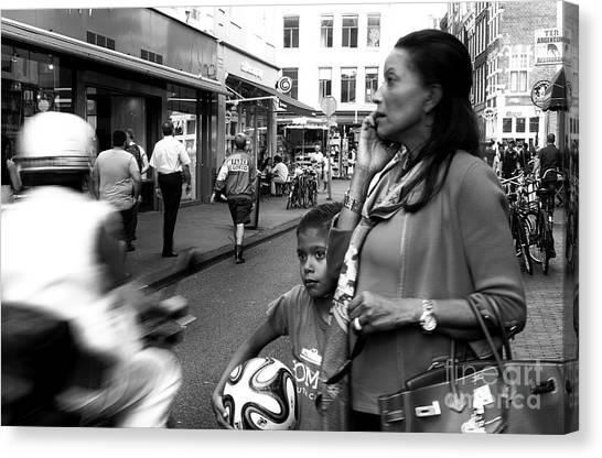 Crossing The Street Mono Canvas Print by John Rizzuto