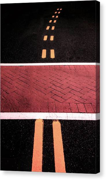 Crosswalk Conversion Of Traffic Lines Canvas Print