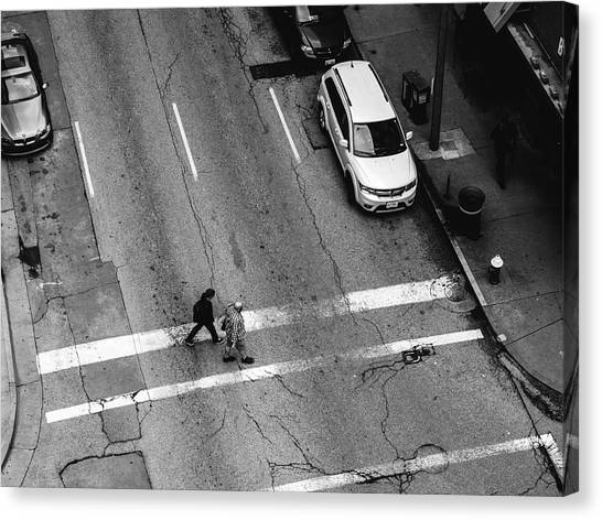 Crosswalk From Above Canvas Print by Dylan Murphy