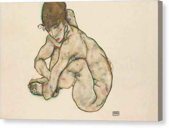 Crouching Canvas Print - Crouching Nude Girl by Egon Schiele