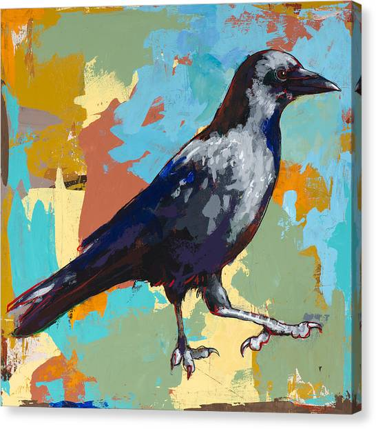 Ravens Canvas Print - Crow #2 by David Palmer