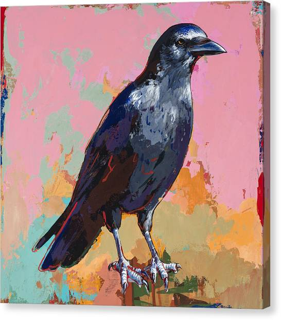 Ravens Canvas Print - Crow #3 by David Palmer