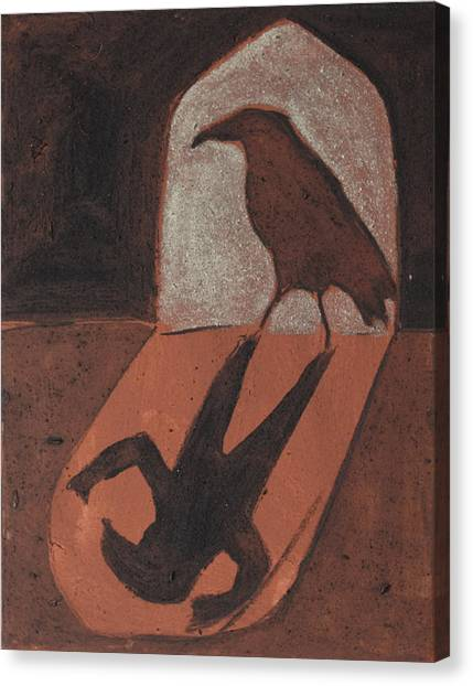 Crow In The Doorway Of Life With Woad Canvas Print by Sophy White