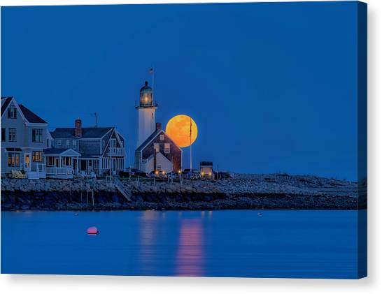 Crow Moon Over Old Scituate Light Canvas Print