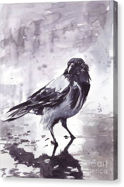 Hawks Canvas Print - Crow Watercolor by Suzann's Art