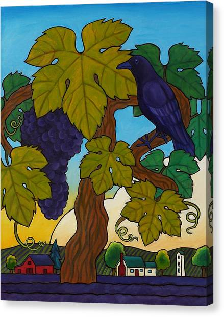 Crow With Wine On The Vine Canvas Print