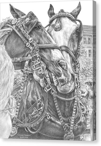 Crowd Pleasers - Clydesdale Draft Horse Art Print Canvas Print