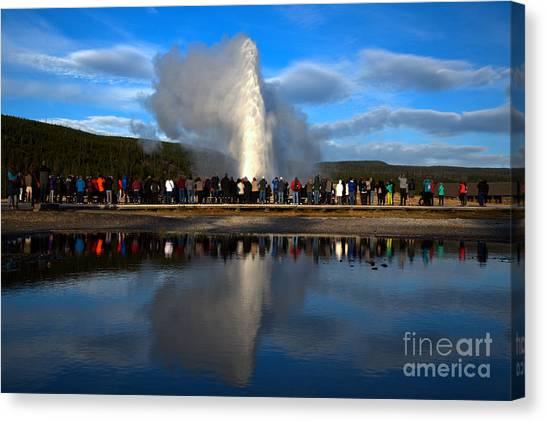 Yellowstone Caldera Canvas Print - Crowd Reflections At Old Faithful Landscape by Adam Jewell