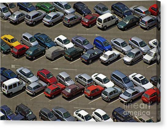 Crowded Carpark Full Of Cars Canvas Print by Sami Sarkis